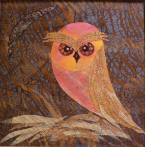 Applique owl on batik background